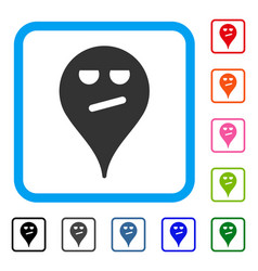 Bored smiley map marker framed icon vector