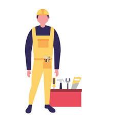 builder man worker with toolkit vector image