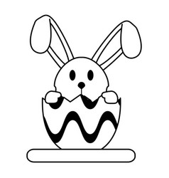 bunny or rabbit with decorated egg easter related vector image