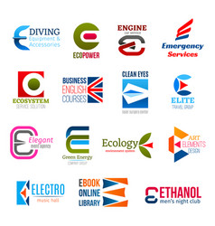 business icons letter e corporate identity vector image