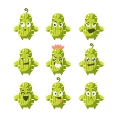 Cartoon Cactus Emoji Set vector