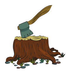 Cartoon image of tree stump and axe vector