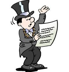 Cartoon of a mayor reading a notice vector