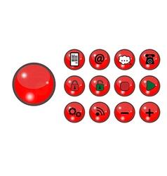 Cervena tlacitka vector image