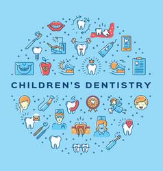 Childrens dentistry circle infographics vector