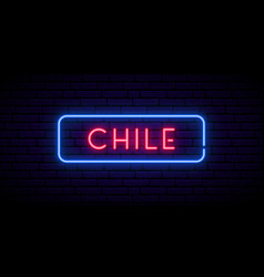 Chile neon sign bright light signboard banner vector