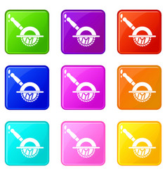 Circular saw icons 9 set vector