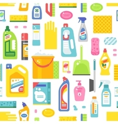 Cleaning tools sweamless pattern vector