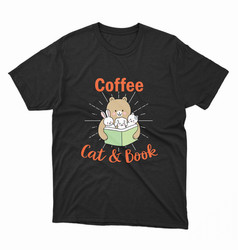 Coffee cat and book t-shirt vector