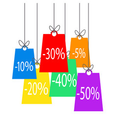 color sale offer tags hanging on the rope stock vector image