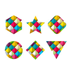 colorful flat geometric shapes set vector image