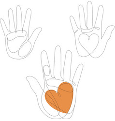 continuous one line drawing abstract family hands vector image