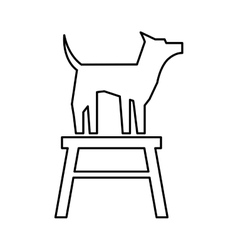 Cute dog mascot in chair isolated icon vector