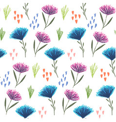 cute floral pattern with pink and blue flowers vector image