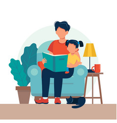 Dad reading for kid family sitting on chair vector