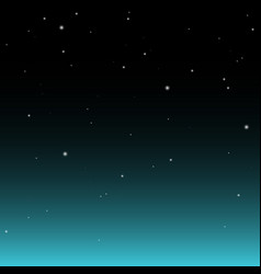 dark nights sky with stars and with turquoise glow vector image