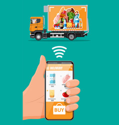 delivery truck full food and smartphone vector image