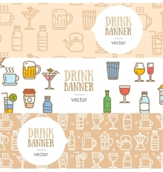 Drink Banner Flyer Horizontal Set vector image
