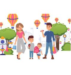 Family in amusement park buy sweets for children vector