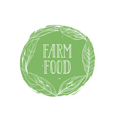farm natural product sign farm food lettering vector image
