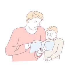 father and son homework assignment reading book vector image