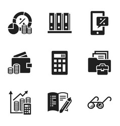 finance strategy icon set simple style vector image