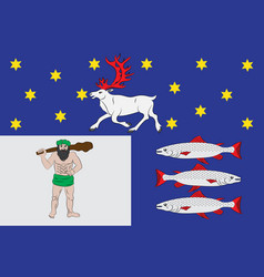 Flag of vasterbotten county in the north of sweden vector