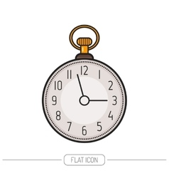 Flat colored icon pocket watch isolated on white vector