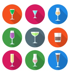 flat solid colors alcohol glasses set vector image