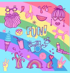 Fun and joy emotion hippie style life set vector