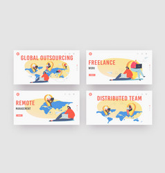 global outsourcing landing page template set vector image