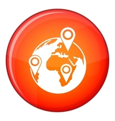 Globe of network icon flat style vector