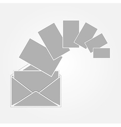 Gray envelope and paper vector