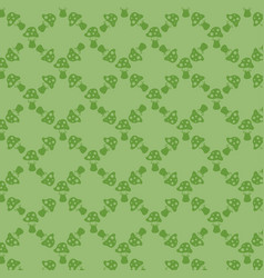 green background with fly agarics for your design vector image