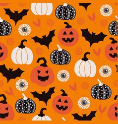 halloween seamless pattern with bat eye pumpkin vector image