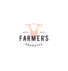 hand drawn logo lamb head silhouette and modern vector image