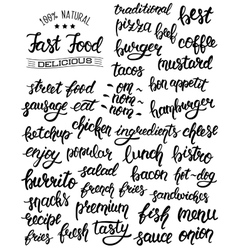 Hand lettering set of words for fast food with vector image