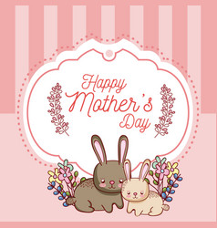 Happy mothers day card with cute rabbits cartoons vector