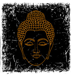 Head buddha on grunge background vector