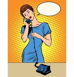 Hello girl answers the phone vector