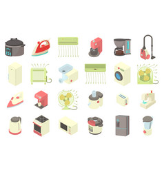 home appliances icon set cartoon style vector image