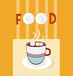 hot coffee with sugar cubes cartoon menu cover vector image