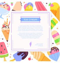ice cream - flat design style banner vector image