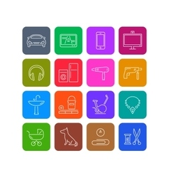 Icons of products categories Linear white Color vector