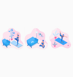 isometric a yoga girl in a vector image