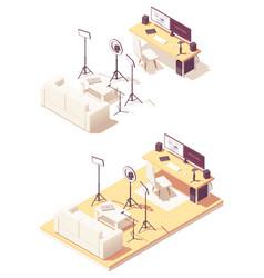 isometric video blogger studio equipment vector image