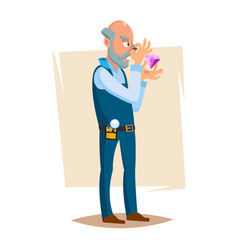 Jeweler valuer isolated man professional vector