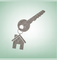 Key with keychain as an house sign brown vector
