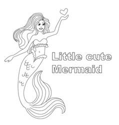 little cute mermeid girl with a small heart vector image