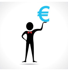 Man holding euro symbol vector image
